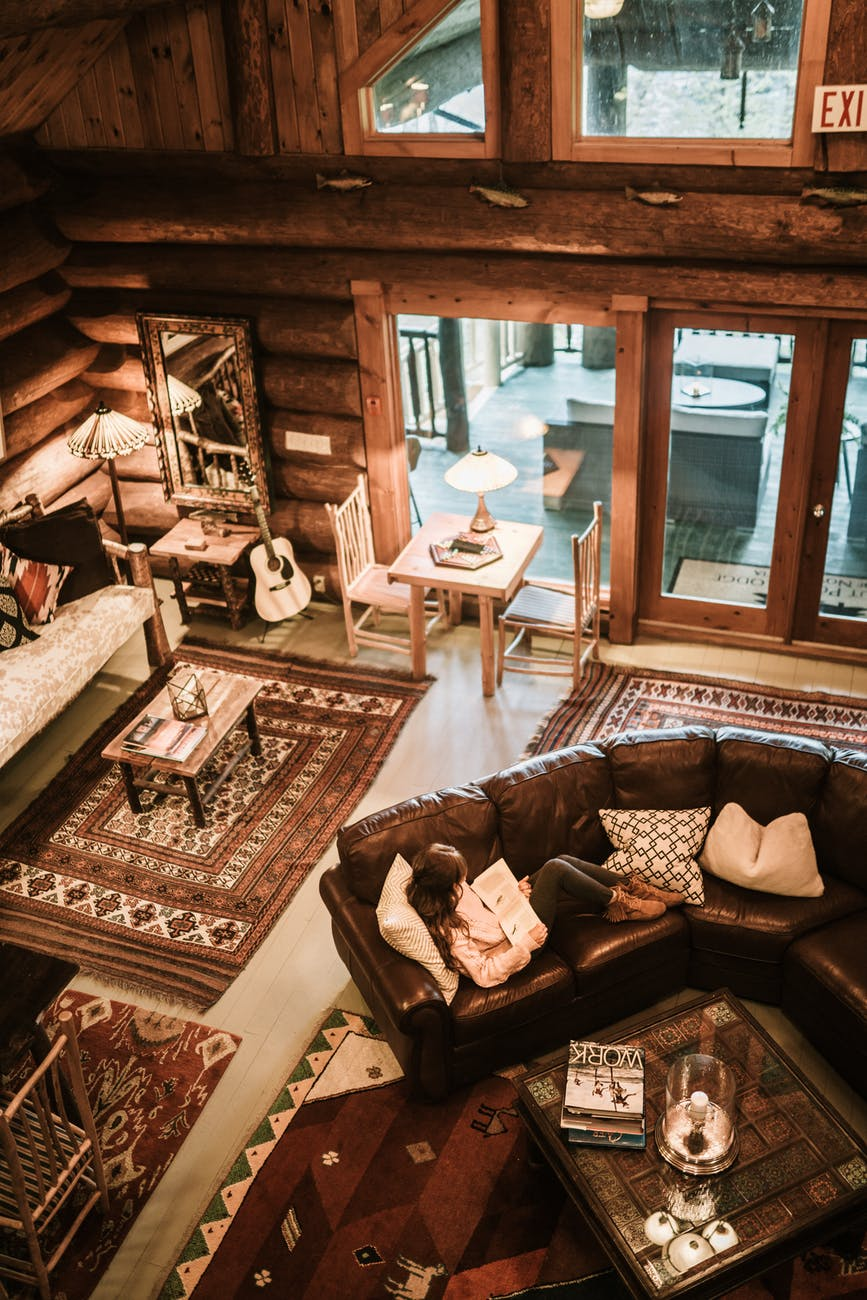 architectural design of a rustic living room